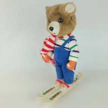 Vintage Skiing Toys Pearl Snow Musical Sking Bear Super Ski Tested Blue Red - $14.82