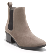 A New Day Women's Microsuede Taupe Ellie Chelsea Cuban Heel Boots Booties NEW