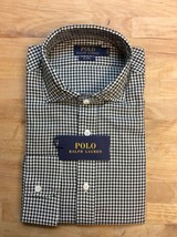 $145 Polo Ralph Lauren Gingham Long Sleeve Shirt, Olive, Size M. - $89.09