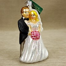 "Olde World Christmas Wedding Bride Groom Glass 5"" Ornament Bridal Couple... - $12.59"