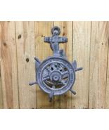 "Cast Iron Gray Ship Wheel hose Reel 20"" Wall Mount Nautical Decor - $64.34"