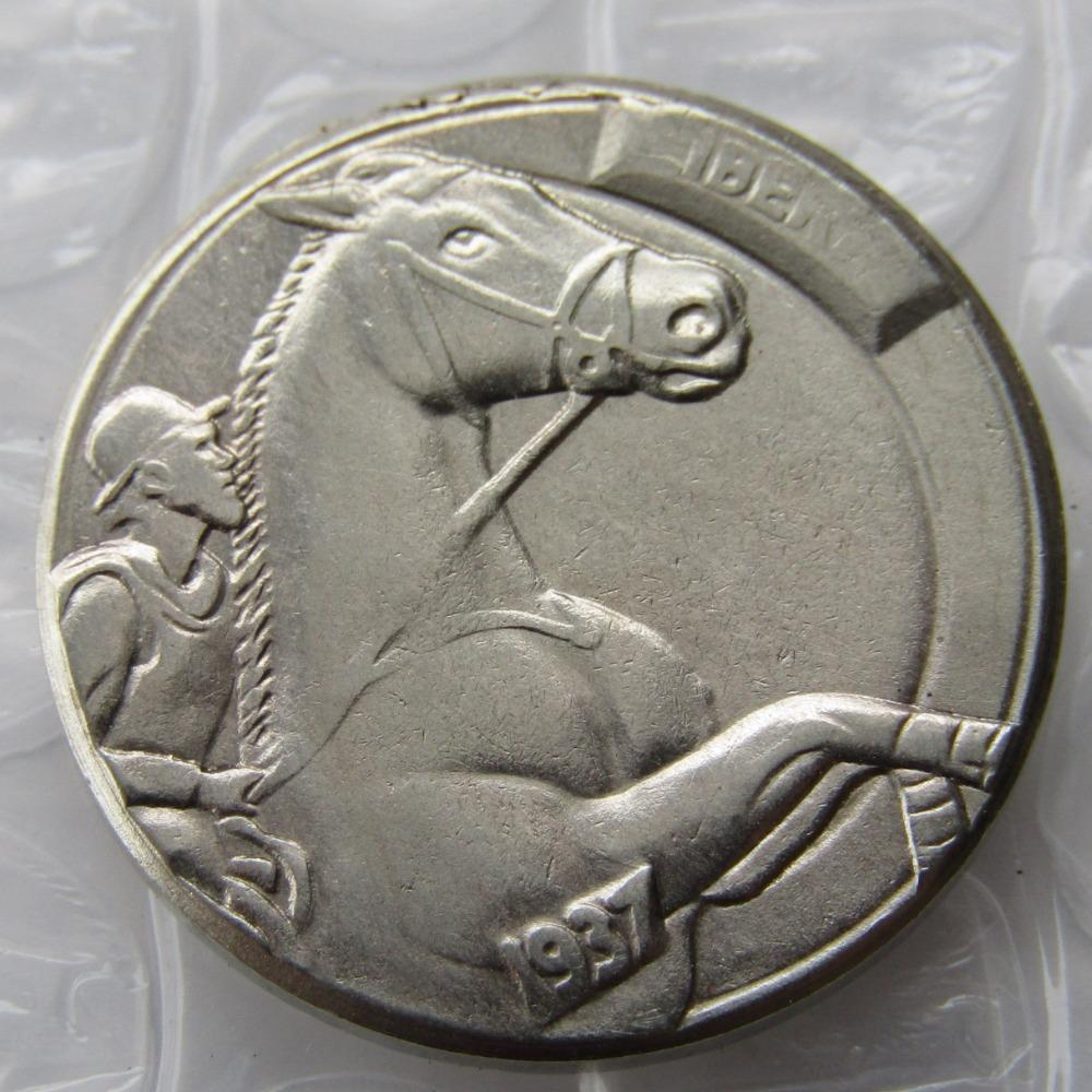 Primary image for RARE HORSE RACING Hobo Nickel 1937-D 3-Legged Buffalo Nickel HAND CRAFTED