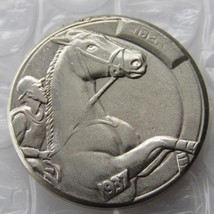 RARE HORSE RACING Hobo Nickel 1937-D 3-Legged Buffalo Nickel HAND CRAFTED - $11.99