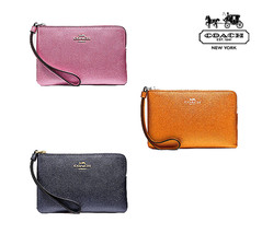 NWT COACH Corner Zip Wristlet Leather Wallet Card Clutch Small Coin Mone... - $31.68+