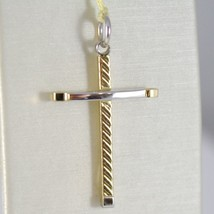 Cross Pendant Gold Yellow White 750 18k, Square, Striped, Made in Italy image 1