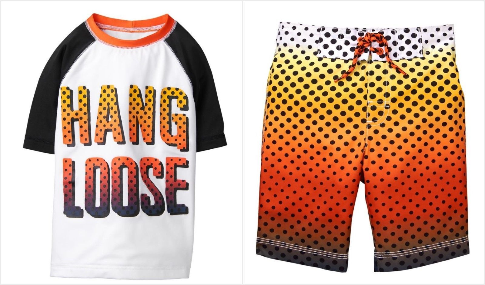 c87bc4596b593 NWT Gymboree Boys Hang Loose Rashguard Sunset Dots Board Shorts Swim Trunks  Set - $24.99