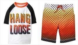 NWT Gymboree Boys Hang Loose Rashguard Sunset Dots Board Shorts Swim Tru... - $24.99