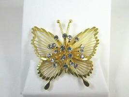Signed Monet Vintage Butterfly Brooch Pin Rhinestone Burst 51463 - $19.79