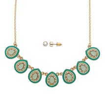 "2-Piece Sim. Aquamarine and Crystal 14k Gold-Plated Necklace and Earrings 16"" - $15.08"