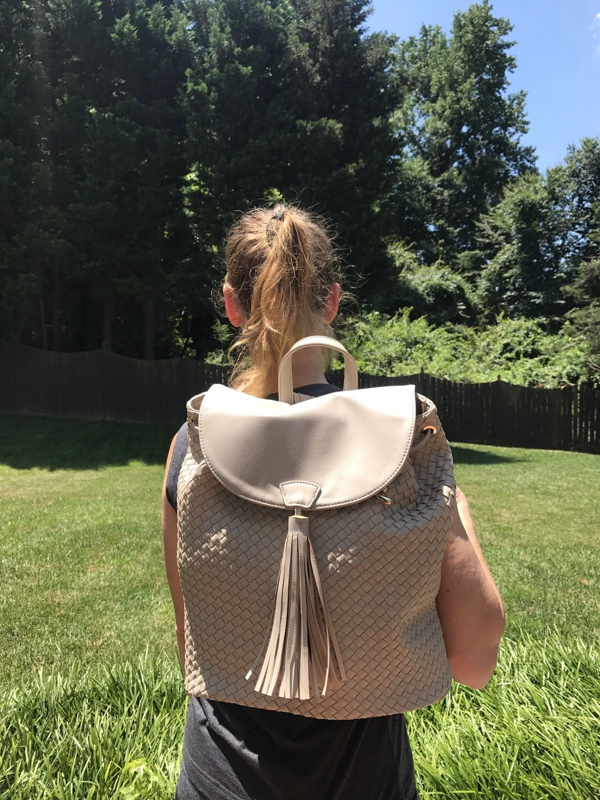 Deux Lux Luxury Bowery Backpack Camel/Off-White/Cream $130 NEW with tags NWT image 4