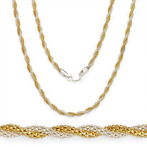 3.2mm Silver 14k Y Gold Plated Twist Rope Popcorn Link Chain Necklace Italy - $47.35+