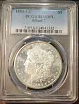 1880-CC $1 Morgan Silver Dollar 8/7 Low 7 Proof Like PCGS MS63PL Rare Coin - $850.00