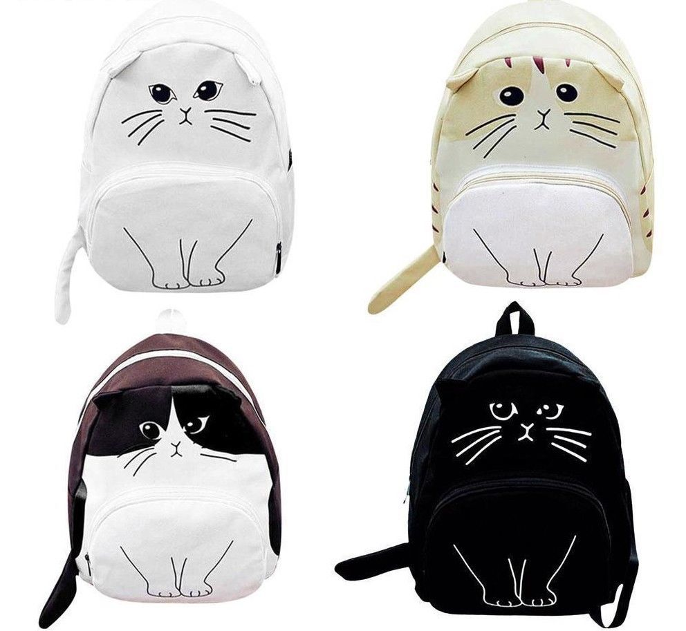 Womens Backpack Cute Lovely Cat Printing Ladies Casual Cute Rucksack Bookbags