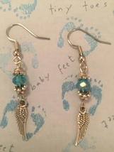 Small Angel Wing with Aqua or Pink Crystal Earrings - $13.00