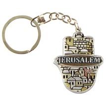 Judaica Keyring Keychain Key Charm Holder Hamsa Metal Epoxy Brown Jerusalem View image 3