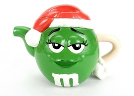 M&M Candies Character Galerie Teapot, Green Female w/Santa Hat Cover, Ar... - $19.55