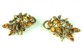 Vtg Coro Floral Yellow Rhinestone Gold Tone Flower Clip Earrings Wedding... - $14.80
