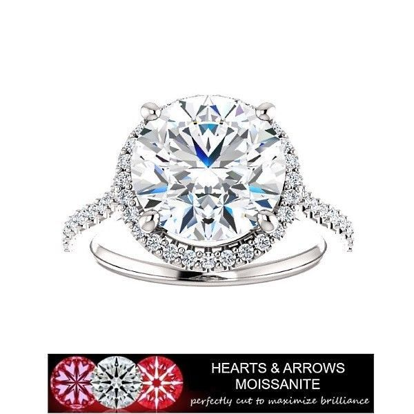 5.00 Carat (DEF) (VVS1) Moissanite Hearts & Arrows Halo Style Ring in 14k Gold