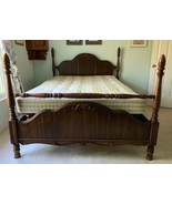 ANTIQUE SOLID WOOD 4 POSTER FULL SIZE BED WITH COILED SPRINGS BOXSPRING - $250.00