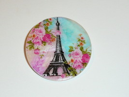 """Pink Flowers & Eiffel Tower - Paris -  Mother of Pearl Shank Button 1+3/8"""" - $11.87"""