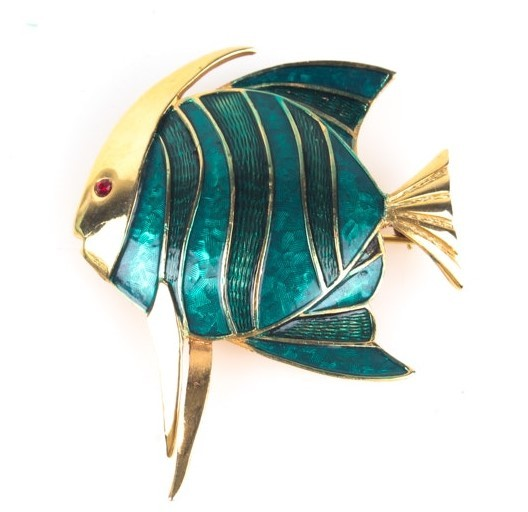 Vintage Boucher Angel Fish Brooch Pin Guilloche Enameled Finish Teal Blue