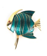 Vintage Boucher Angel Fish Brooch Pin Guilloche Enameled Finish Teal Blue  - $70.09
