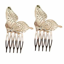 4 Pcs Retro Butterfly Gold Color Metal Hair Combs Decorative Mini Side Combs DIY