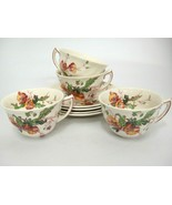 Vintage Royal Doulton Sherborne Coffee Cups & Saucers Lot of 4 Scalloped... - $39.59