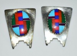VTG Sterling Silver .925 Multi-Stone Inlay Post Earrings Turquoise Malac... - $99.00