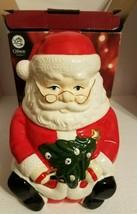 """Santa Claus with Tree Christmas Ceramic Cookie Jar Gibson 10 3/4"""" Tall 2010 NIB - $46.56"""