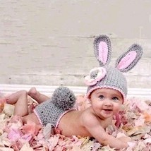 Newborn baby photography props knitted crochet hat rabbit hat woolen cute - $12.69 CAD+