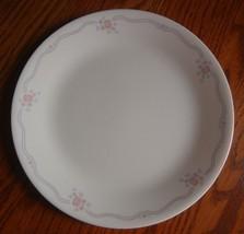 "4 Corelle English Breakfast  Dinner Plates Pink Roses Blue Ribbon 10.25""... - $24.70"