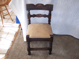 Hand Carved Rustic Pine Desk Chair in Buckskin Leather  (SC13) - $249.00