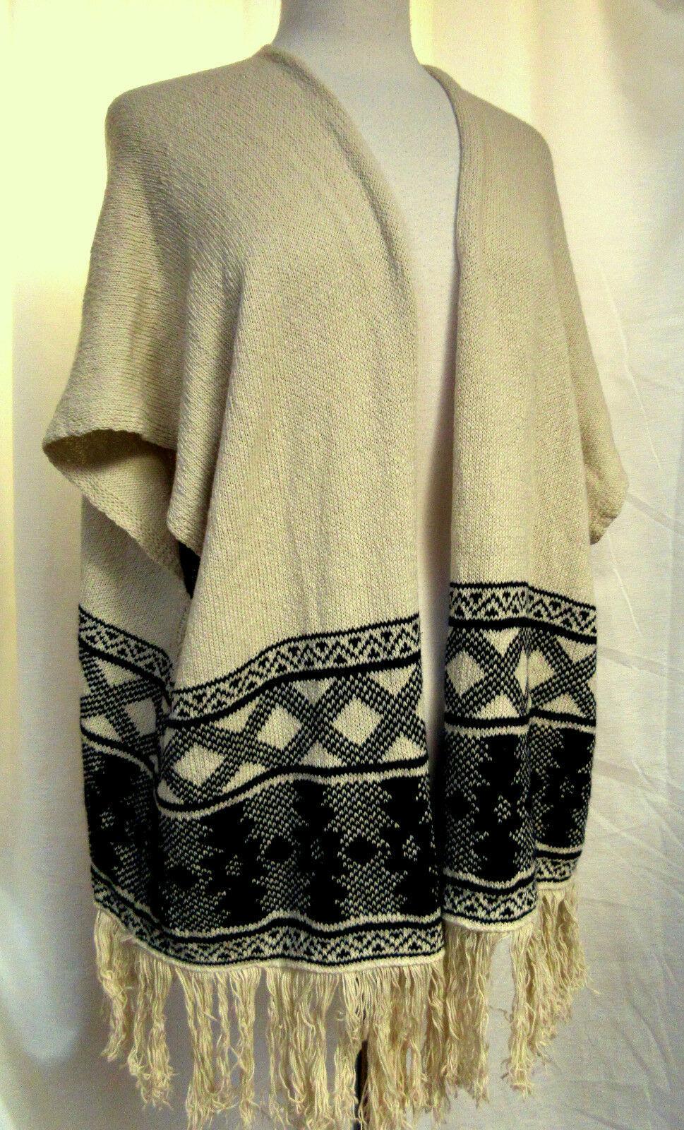 AMERICAN RAG Oversized Open Front Sweater Vest Southwest Print Fringed FLAW Sz M