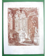 ARCHITECTURE PRINT : Vestibule Hall Design Perspective View Etxhing by L... - $8.77