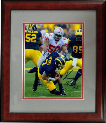 Vernon Gholston signed Ohio State Buckeyes 16x20 Photo Custom Wood Framed (vs Mi
