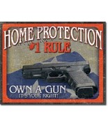 New Home Protection #1 Rule Own a Gun It's Your Right Decorative Metal T... - $9.41