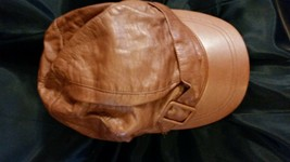 Women's Brown Leather Lined Military Style Cap Hat Accessory Nine west - $13.85