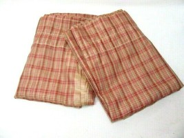 Waverly Plaid Red Pink Tan Check 2-PC 120 x 84 Semi-Sheer Drapery Panel ... - $58.00