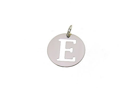 18K WHITE GOLD ROUND MEDAL WITH INITIAL E LETTER E MADE IN ITALY DIAMETER 0.5 IN