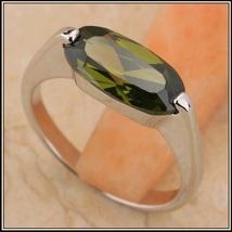 Olive Semi-precious Oval AAA Peridot Stone Prong Set Silver Ring image 1