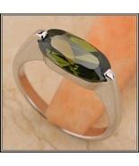 Olive Semi-precious Oval AAA Peridot Stone Prong Set Silver Ring - $86.95
