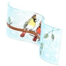 Fused Art Glass Cardinal Couple Birds Wavy Decor Sun Catcher Handmade Ecuador image 2