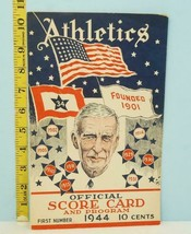 1944 Philadelphia Athletics Score Card v Browns War Issue Scored - $74.25