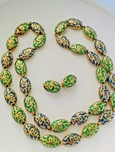 ORIENT CINER Necklace & Earrings Green/Blue/Gold Heavy 170g - $127.00