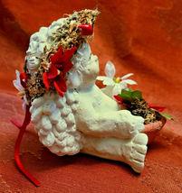DREAMSICLE, Angel Cast Art Figurine, Kristin 1994 Flower Poinsettia Berries image 3