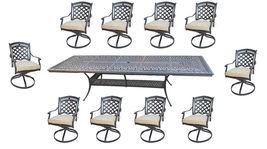 11 Piece Outdoor Cast Aluminum Powder Coated Patio Dining Set With Swivel Rocker image 3