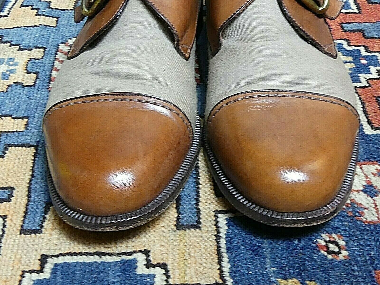 Men's Cole Haan Italy Cap Toe Fabric Two-Tone Monk Strap Oxford Sz. 10D MINT!