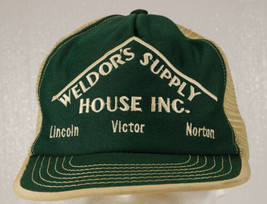 Vintage WELDOR'S SUPPLY Snap back Mesh Trucker Style Hat Adjust USA Gree... - €23,09 EUR