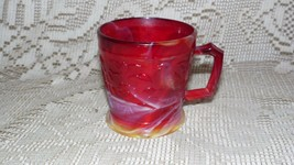 "VTG IMPERIAL SLAG GLASS ""OLDEN END O'DAY"" CUP BIRDS FLOWERS RED YELLOW - $24.70"